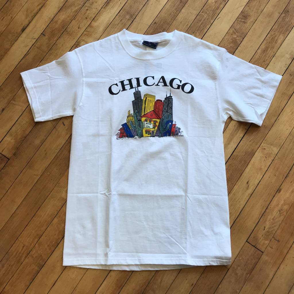 2ND BASE VINTAGE Chicago  Abstract Cityscape T-Shirt LG