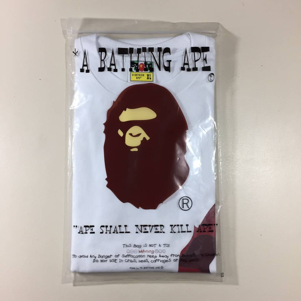 BAPE BAPE Big Side Head T-Shirt White / Red Camo XL