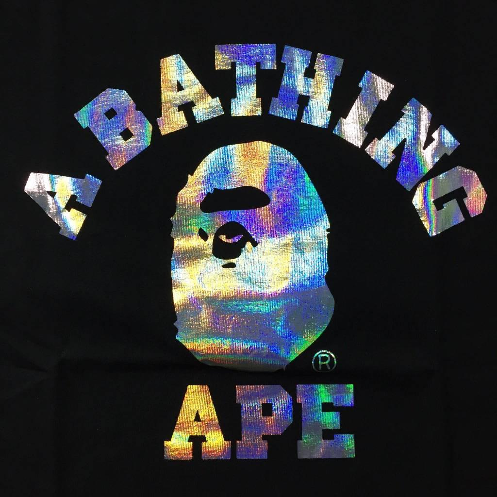 BAPE BAPE Iridescent College T-Shirt Black LG
