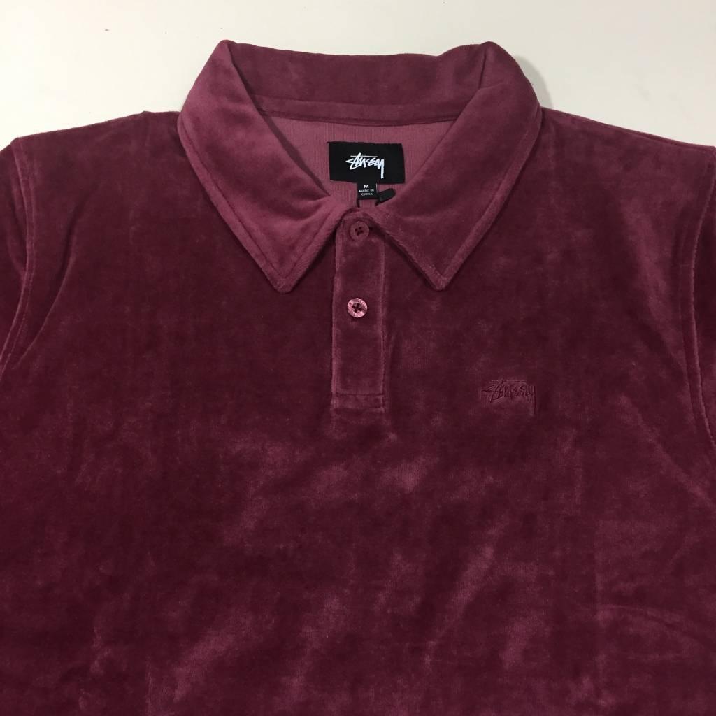 STUSSY Victor SS Polo Shirt Maroon