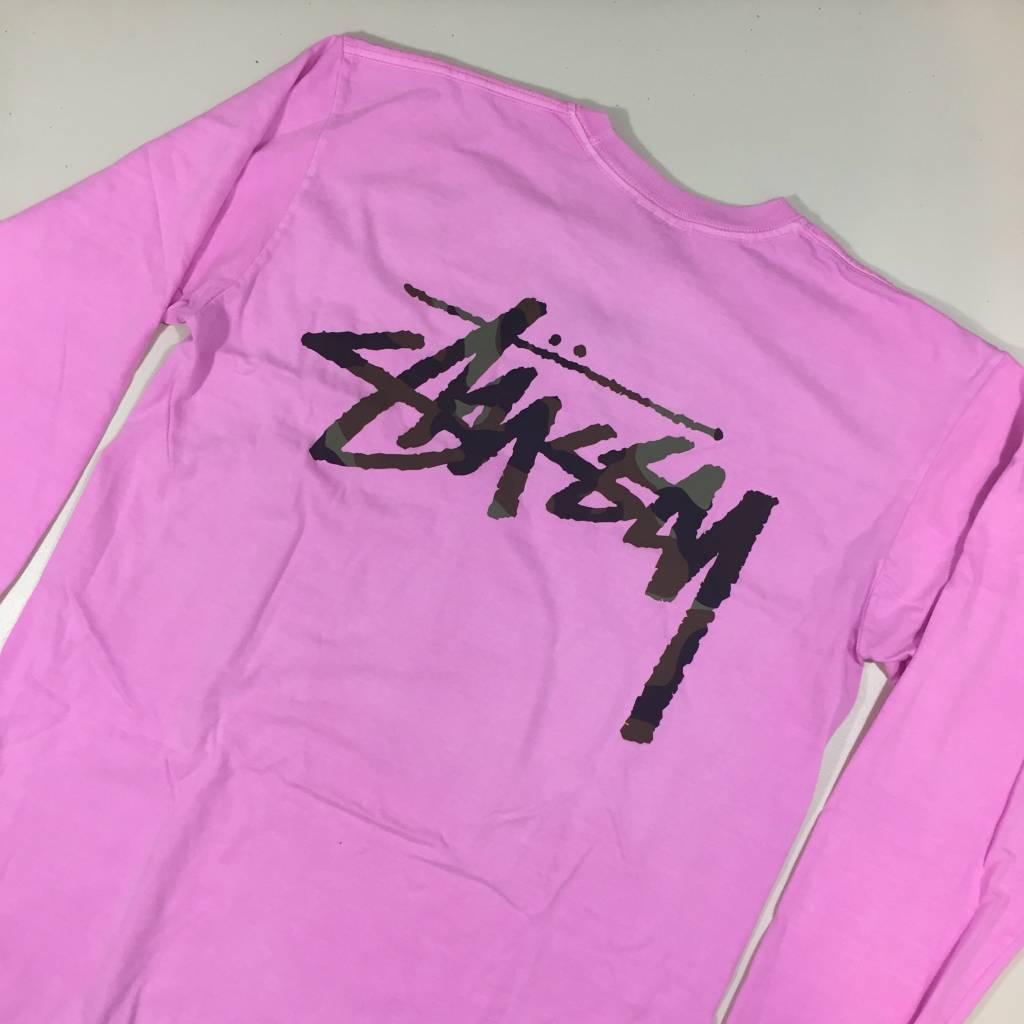 STUSSY Stock Logo LS T-Shirt Pigment Pink