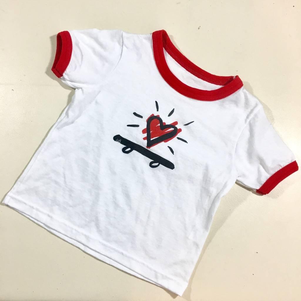 HOMEBASE SOFTGOODS Skate Heart Ringer T-shirt Toddler White Red