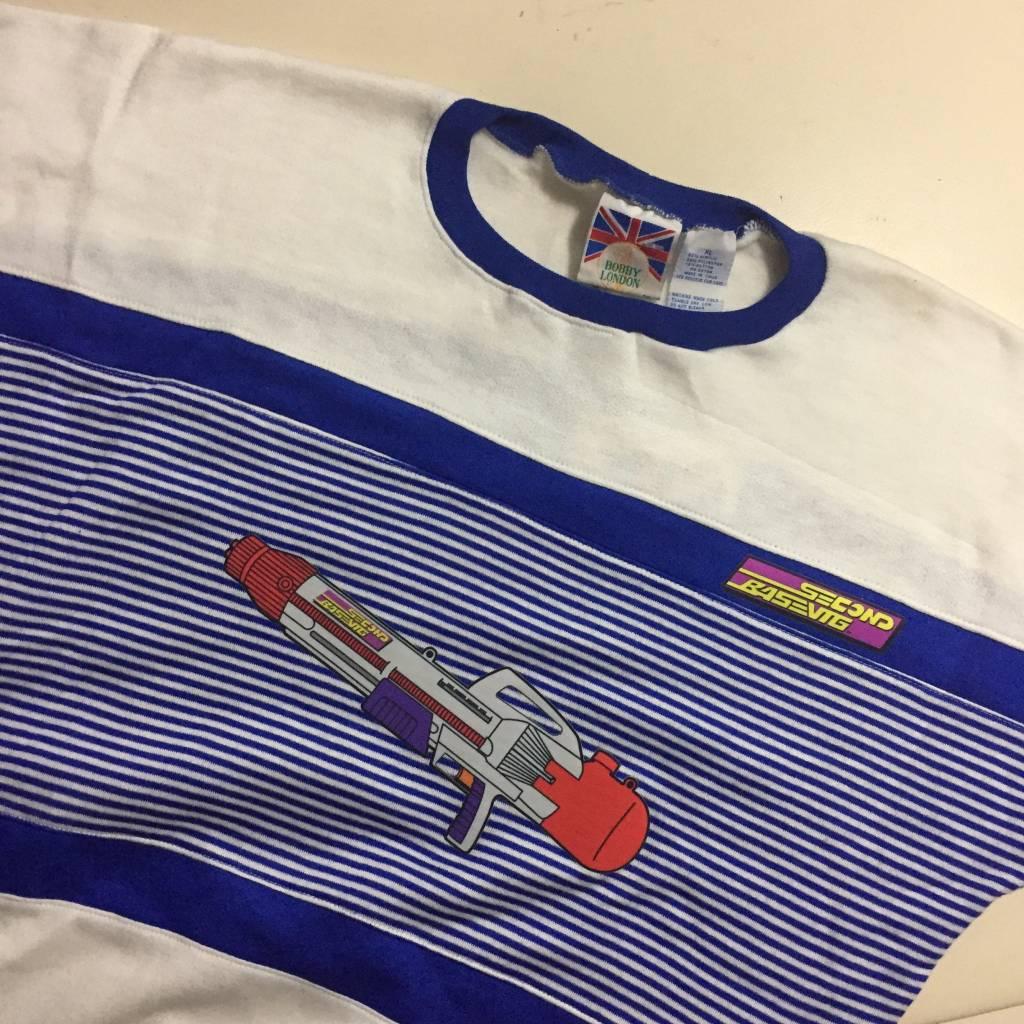 2ND BASE VINTAGE Wet 'Em Up x Vintage Royal Blue Stripes Sweatshirt XL
