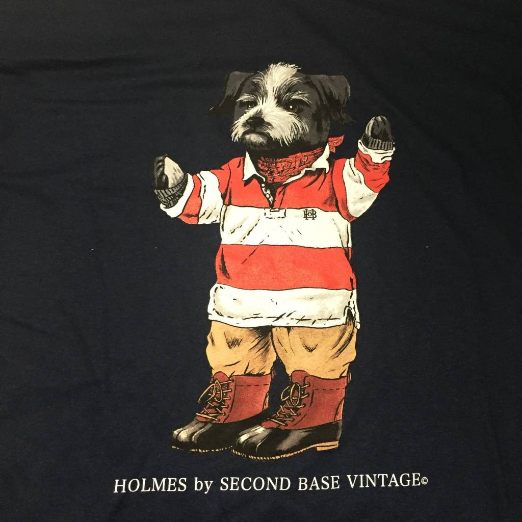 2ND BASE VINTAGE Holmes Bear LS T-Shirt Navy