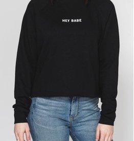 Brunette Hey Babe Crop Sweatshirt