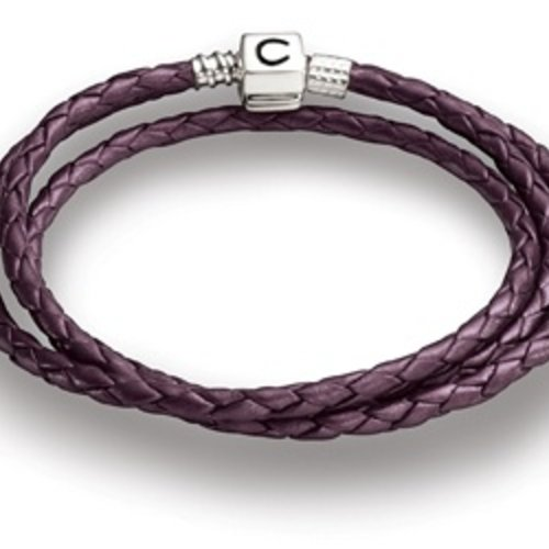 "Chamilia 22.2"" Plum Braided Leather Wrap Bracelet"