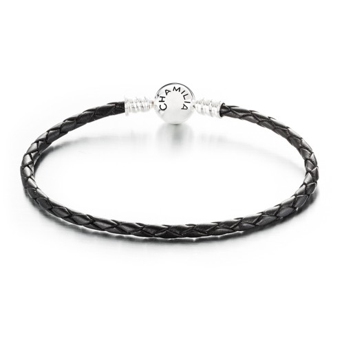 Chamilia Large Black Braided Leather Braceled with Snap Closure