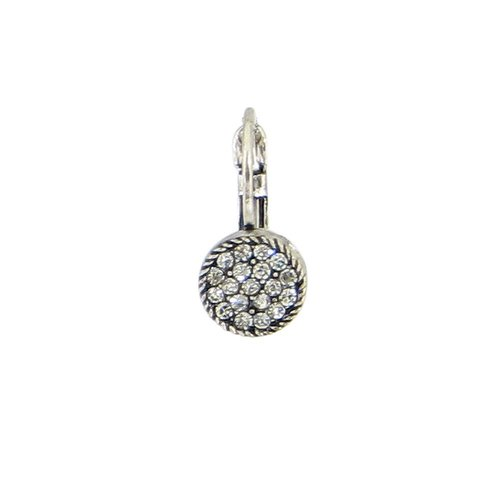 Baked Beads Small Round Pave Crystal Earrings