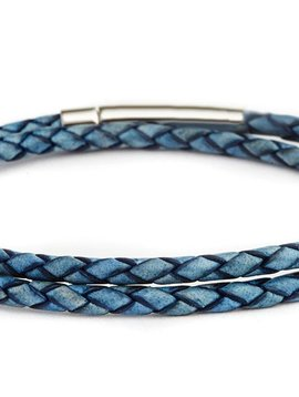 Fenton Braided Leather Wrap Bracelet - Blue