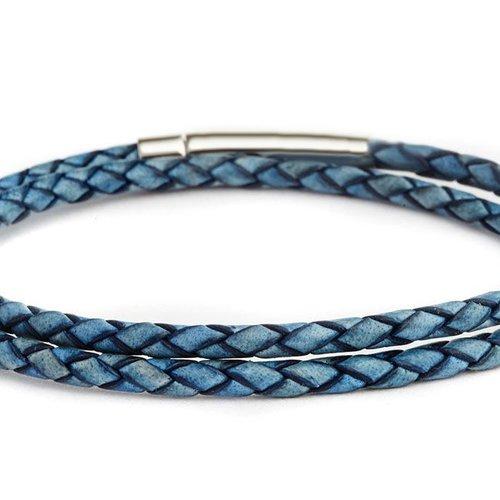 Fenton Braided Leather Wrap Bracelet - Blue