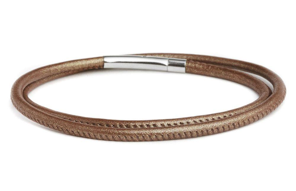 Fenton Double Wrap Leather Bracelet - Bronze