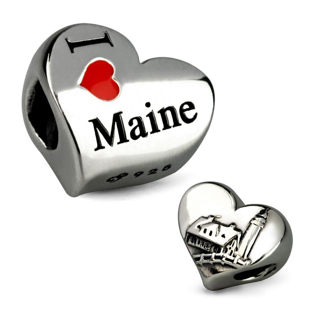 Ohm Beads I Love Maine & Lighthouse Bead