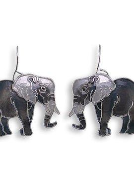 Zarah Grey Elephant Earrings