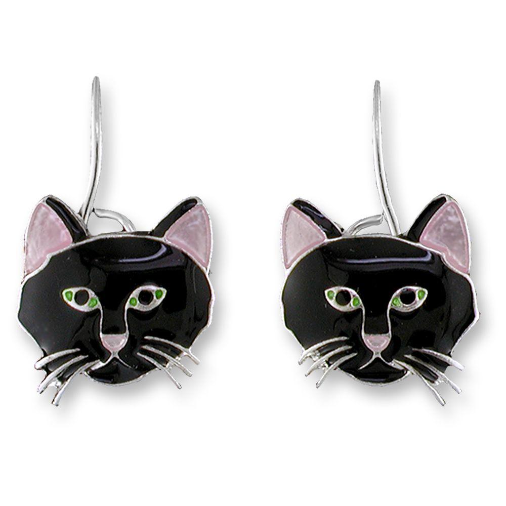 Zarah Black Cat Earrings