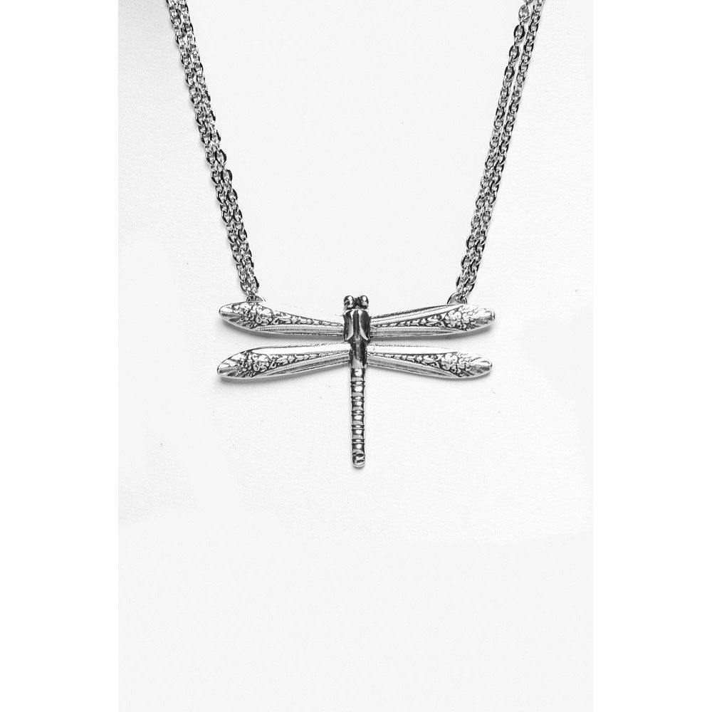 Silver Spoon Dragonfly Pendant on Double Chain