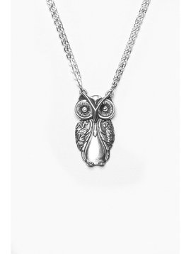 Silver Spoon Owl Necklace