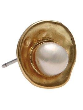 Gold Bowl w/ Pearl Earrings