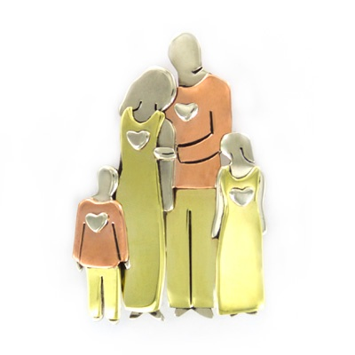 Loving Family with Two Children Pin