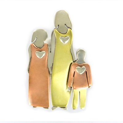 Family with Two Moms and One Child Pin