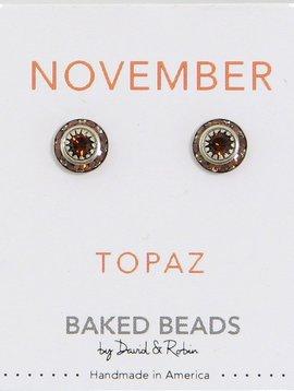Baked Beads Crystal BIrthstone Post Earrings