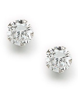 Cubic Zirconia Round Post Earring