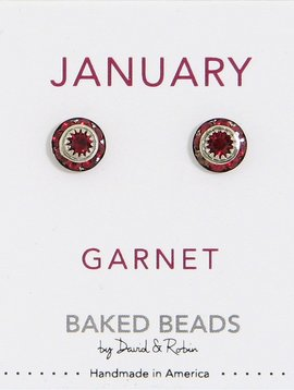 Baked Beads January Crystal Birthstone Post Earrings