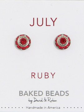 Baked Beads July Crystal Birthstone Post Earrings