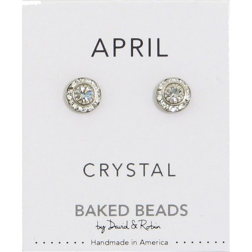 Baked Beads April Crystal Birthstone Post Earrings
