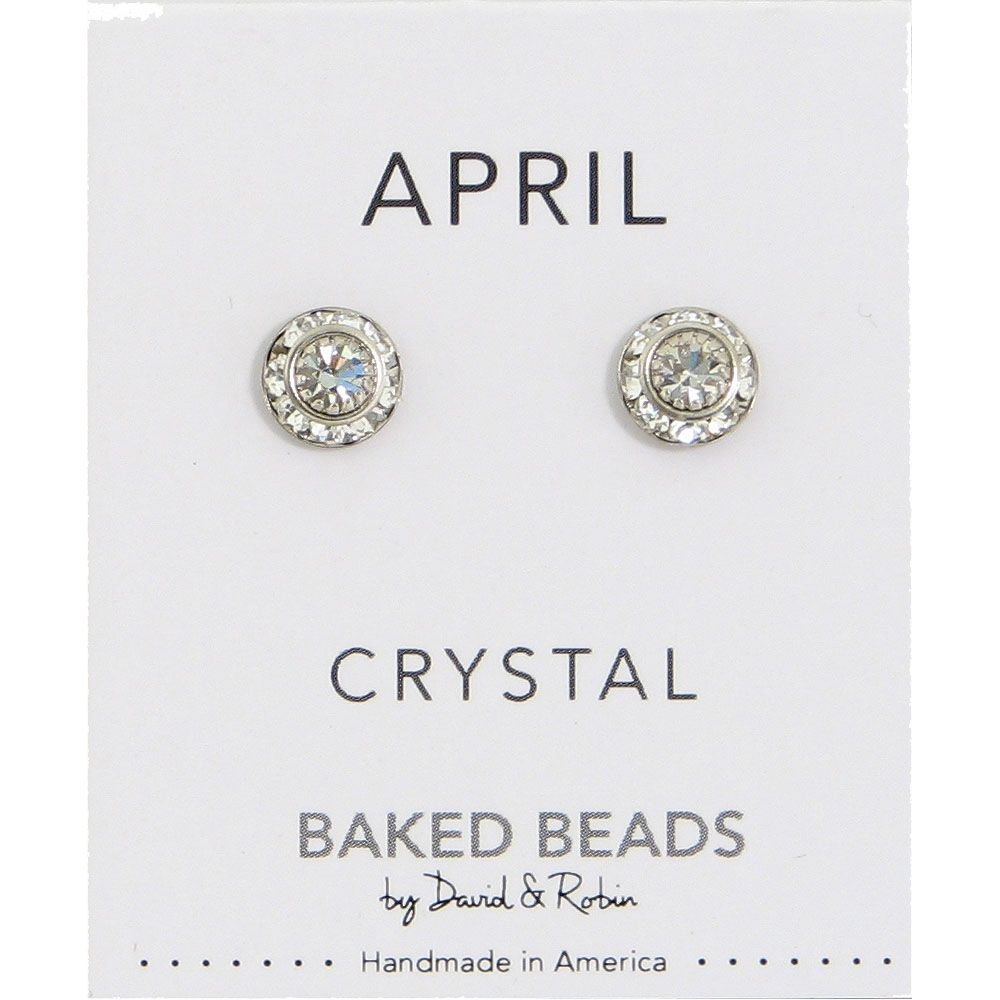 Baked Beads April Crystal Birthstone Post Earrings
