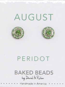 Baked Beads August Crystal Birhtstone Post Earrings