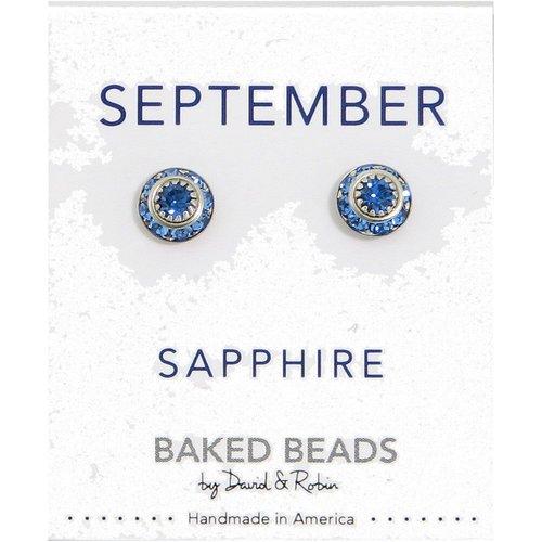 Baked Beads September Crystal Birthstone Post Earrings
