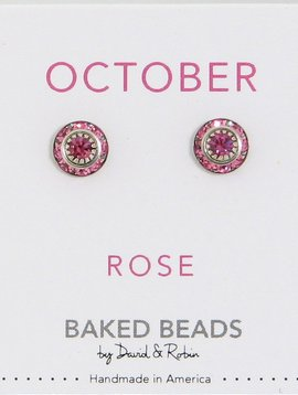 Baked Beads October Crystal Birthstone Post Earrings