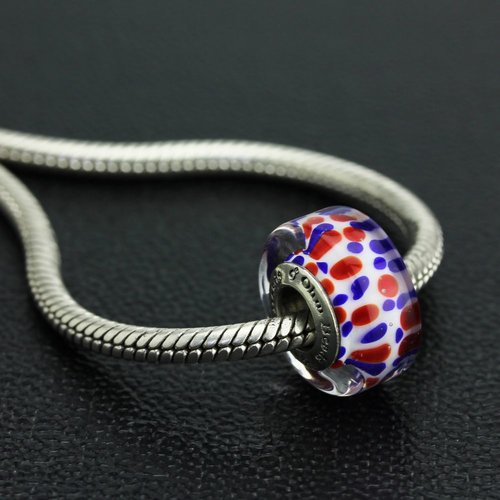 Ohm Beads Patriotic Red, White and Blue Glass Bead Touched