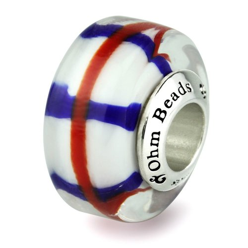 Ohm Beads Patriotic Red, White and Blue Glass Bead Crossed
