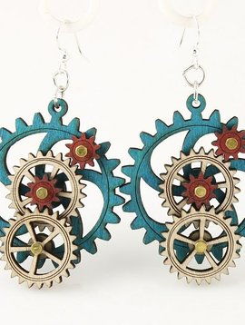 Green Tree Jewelry 3D Gear Earrings