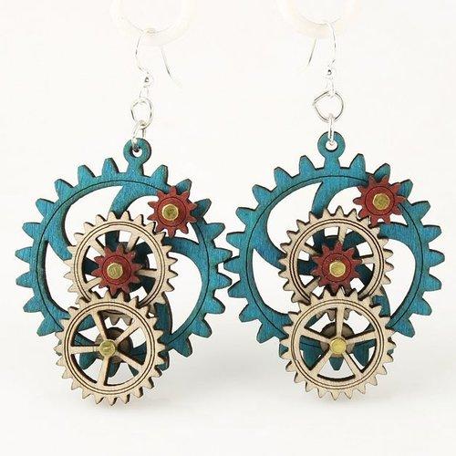 Green Tree Jewelry 3D Gear Earrings