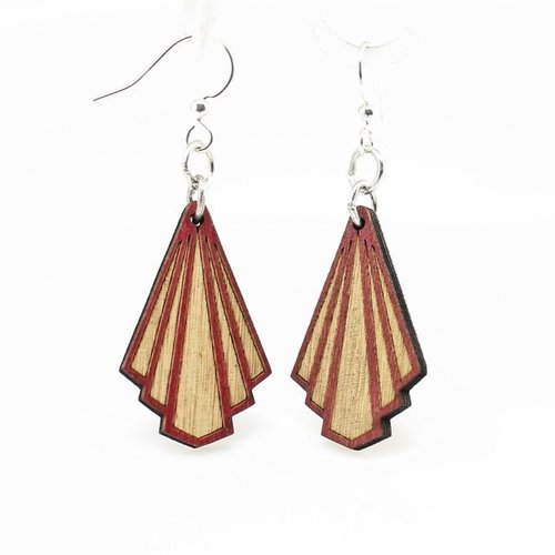 Green Tree Jewelry Art Deco Wood Earrings