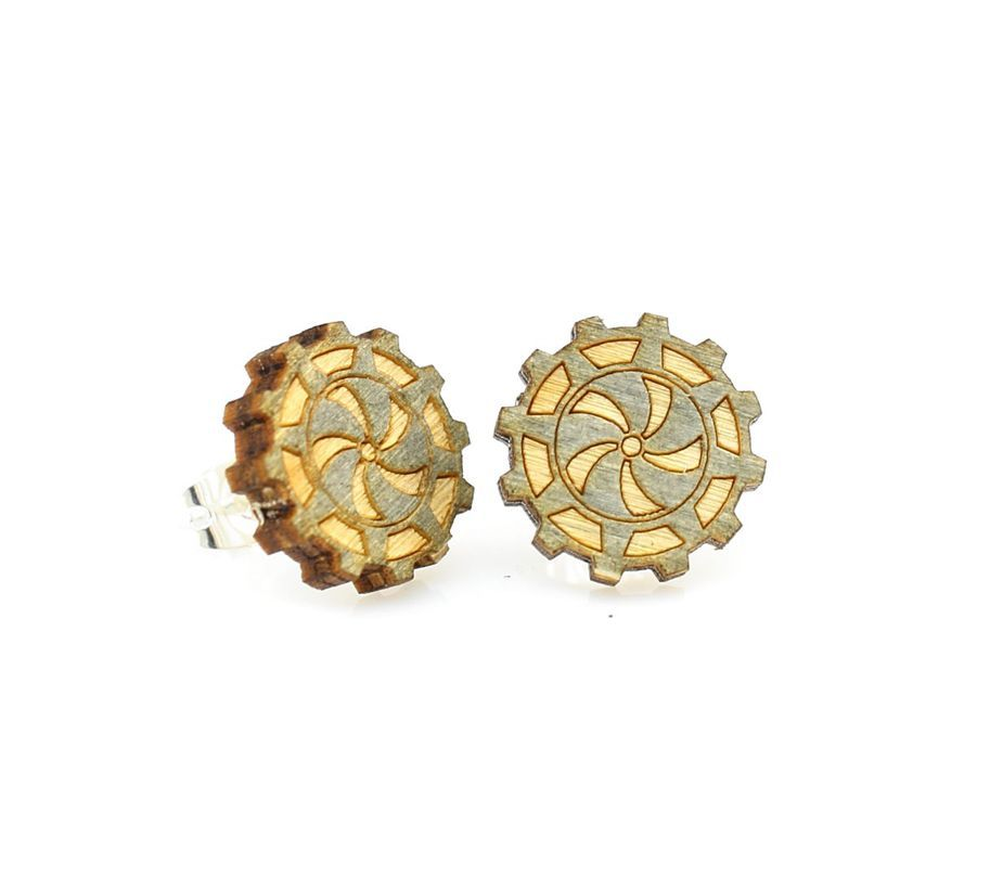 Green Tree Jewelry Gear Stud Earrings