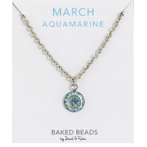 Baked Beads March Crystal Birthstone Necklace