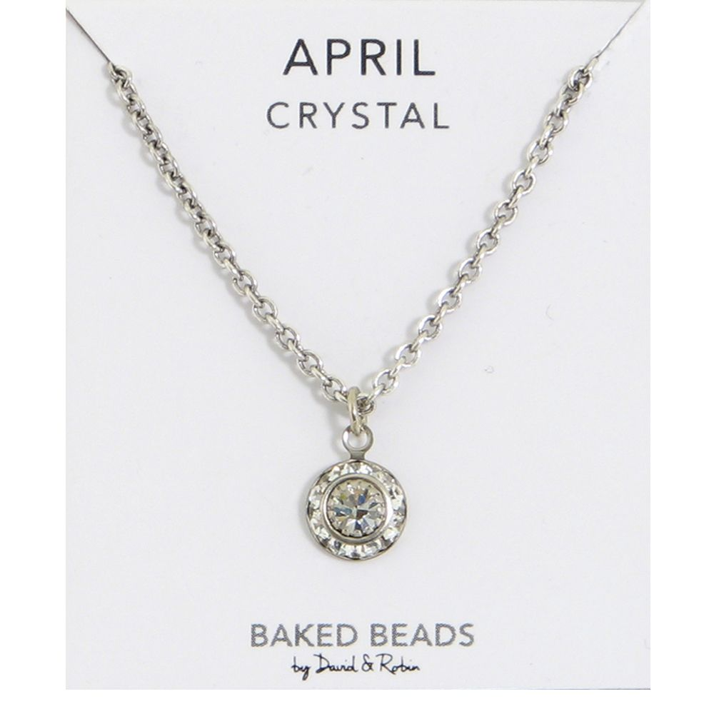 Baked Beads April Crystal Birthstone Necklace