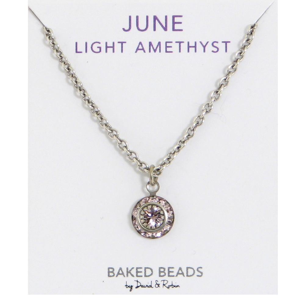 amethyst engravable disc birthstone swarovski pendant june and light