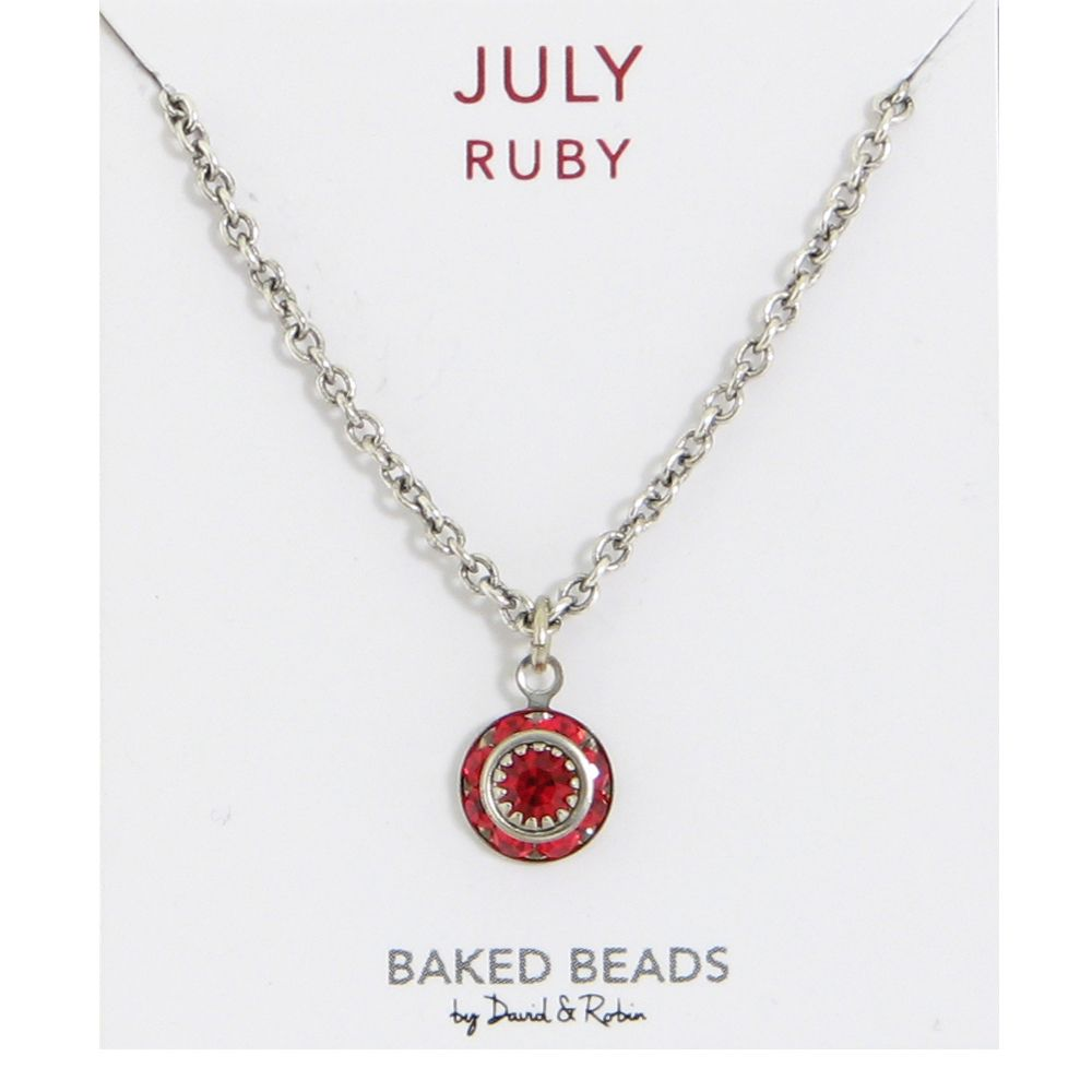 Baked Beads July Crystal Birthstone Necklace