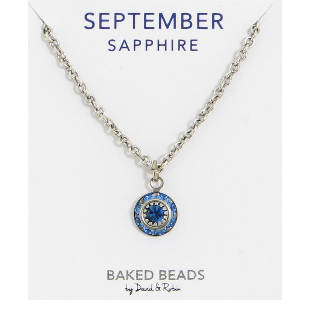 Baked Beads September Crystal Birthstone Necklace