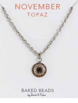 Baked Beads November Crystal Birthstone Necklace