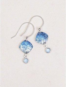 Holly Yashi Blue Square Leaf Earrings