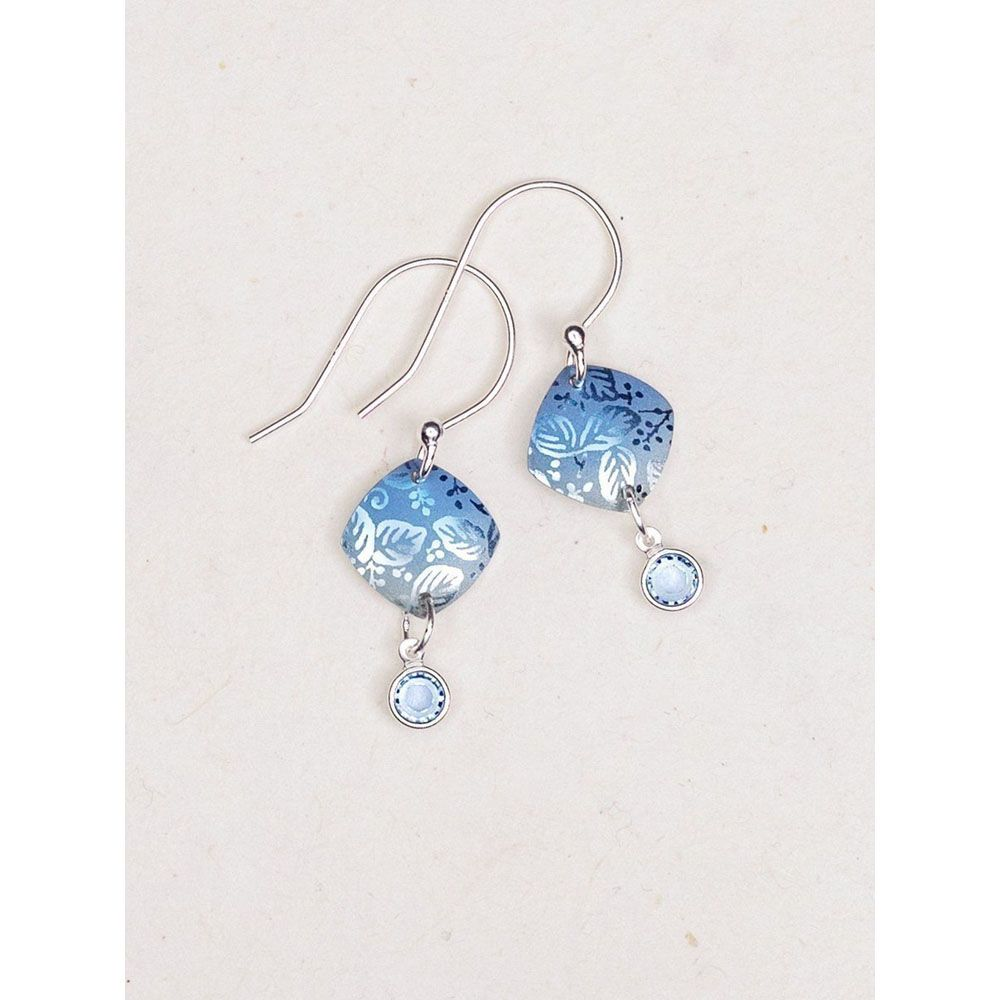 Holly Yashi Blue Square Leaf Earrings