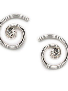 Swirling Crystal Post Earrings