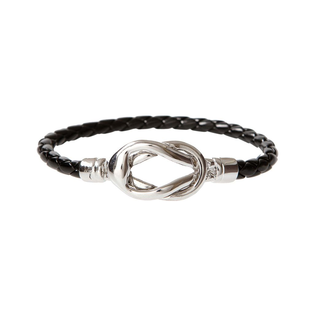 Rain Silver Knot Leather Bracelet