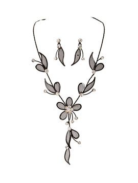 Black Floral Necklace and Earrings Set