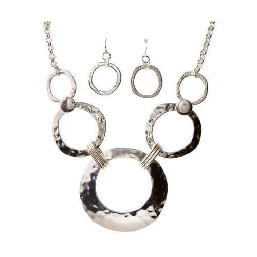 Rain Hammered Link Necklace and Earrings Set